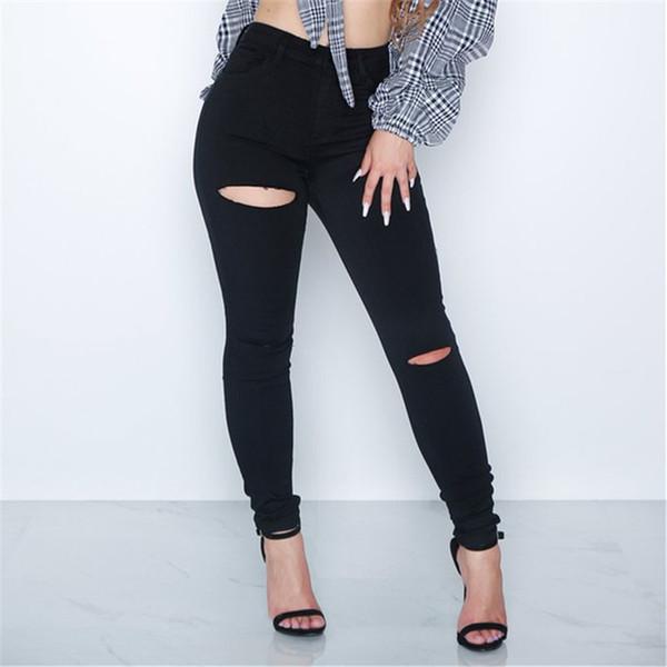 Hole Pockets Women Jeans Ripped High Waist Denim Pants Skinny Black Fashion Trousers Femme