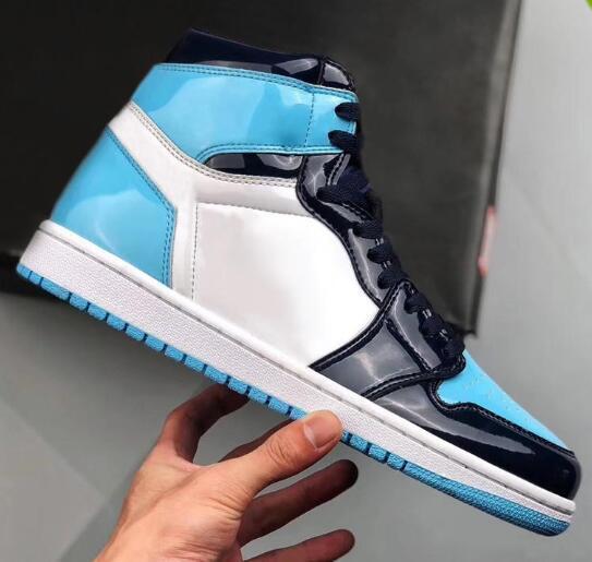 2019 Yeni 1 Yüksek OG UNC Patent WMNS ASG Obsidyen Mavi Chill Beyaz Erkekler Kadınlar Basketbol Ayakkabı 1 s Ile All-Star Oyunu Sneakers kutu