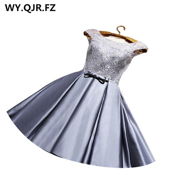 Yrpx#lace Up Grey & Wine Red Short Bridesmaid Dresses Plus Size New Spring Summer Wedding Party Prom Dress 2019 Cheap Wholesale J190618