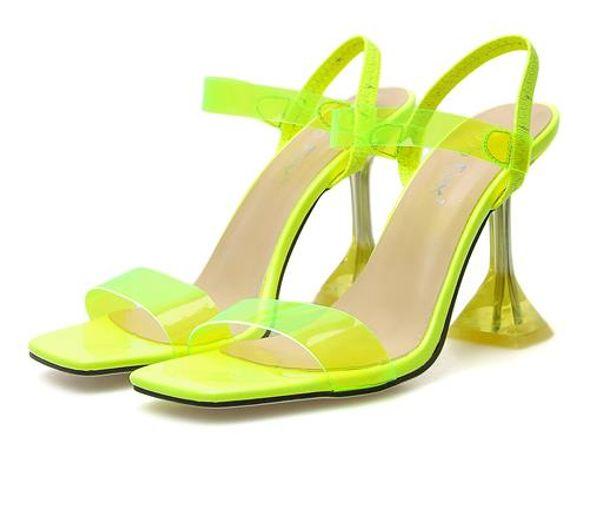 Fluor sarı berrak PVC şeffaf topuk lüks sandalet tasarımcı topuk sandalias Kutu boyutu 35 40 için birlikte gel