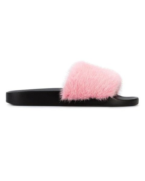 2019ss womens fashion Mink Fur Flat Slides sandals girls fashion flat slippers many colors size euro 35-40