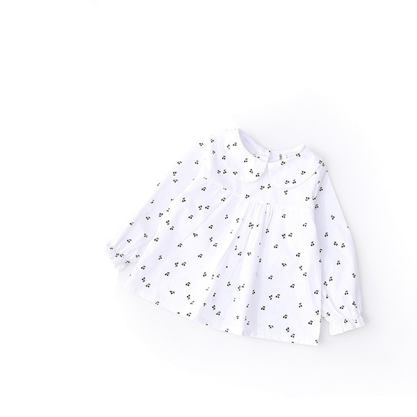Toddler Girl Shirts 2019 Spring Fashion White Color Baby Girls Blouses Cute Cherry Printed Long Sleeve Ruffle Tops Kids Clothes
