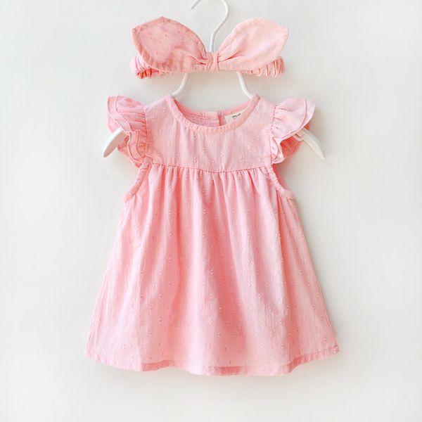 Новорожденных девочек сплошной о-образным вырезом платье принцессы Дети летают платье с рукавами хлопок Детские кружевные платья на 3-12 месяцев