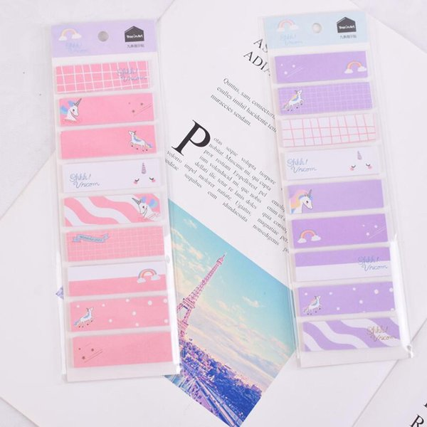 Unicorn Memo Pad Candy Color Paper Sticky Notes Cute Writing Pads Adhesive Label Stickers Kawaii Stationery School Supplies