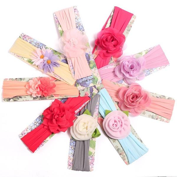 Baby Mädchen Stirnband Kleinkinder Haarschmuck Kleidung elastische Blume Neugeborenen Floral Headwear Tiara Headwrap Hairband Geschenk Kleinkinder