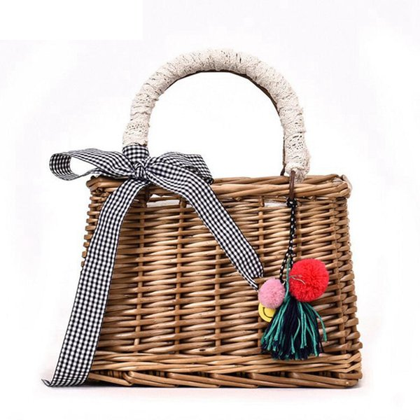 New Designe Rattan Summer Beach Crossbody Bag Square Bamboo Woven Handbag Women Straw Bag Bohemian Bow Ladies Shoulder Bag Lw-97