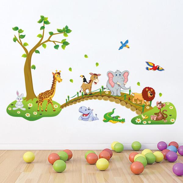 Neue 3D Cartoon Tier Kreuzung Brücke Wandaufkleber Für Kinder Bady Room Home Decor Giraffe Elefant Löwe Kunstwandbild PVC DIY Poster