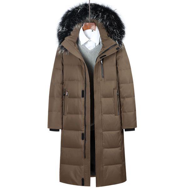 Men Down Coat 2018 Russian Winter Extra Long Down Jacket Men's Casual Parkas Fur Collar Hooded Thicken Warm Brand Jackets