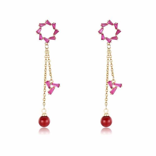 Transmit Love For Woman Hollow Small Fresh Flowers Long Tassel Drop Red Beads Dangle Earrings Best Gifts C19041101