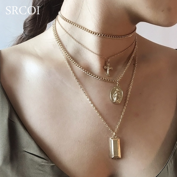 SRCOI Bohemia Gold Color Cross Layered Necklace Jesus Virgin Mary Chain Pendant Necklace Easter Day's Gift For Women Jewelry C18122501