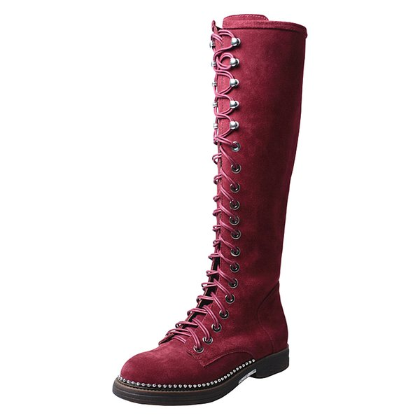 winter new cow suede knee high boots women metal beading sole low heel motorcycle boots round toe thick bottom lace up long boots females