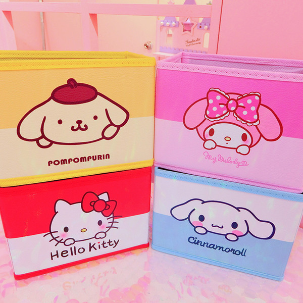 Cartoon Hello Kitty My Melody Cinnamoroll Pudding Dog Cute Cosmetic Cases Woman Makeup Bags Toy Folding Storage Box Bag