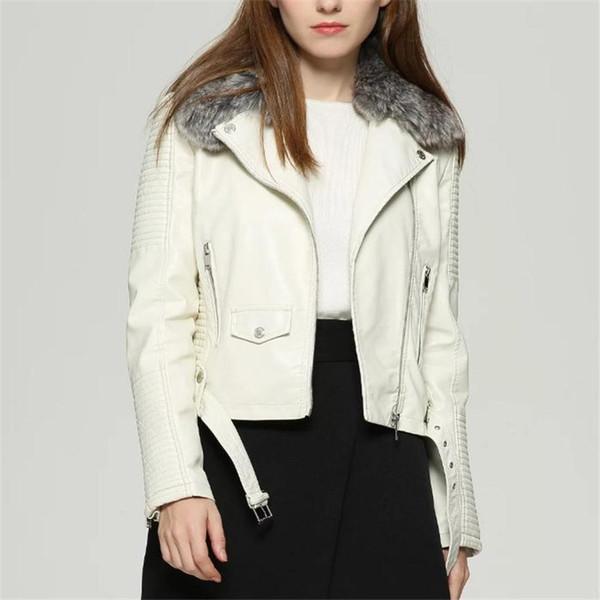 Rex Rabbit Furry Fashion Warm Pu Leather Jacket Coats Black S-XL Women's Wear Autumn and Winter Long Sleeve Short Neckle Leathe