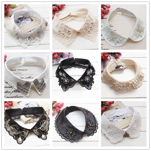 MIARA.L couples noir dentelle perlée collier tour de cou collier collier faux accessoires de vêtements pour femmes douce faux