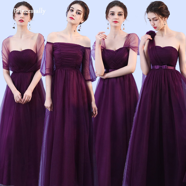 4f5b343b0606f New Dark Purple Bridesmaid Dress Long Mixed Styles Pleat Sweetheart Eggplant  Formal Bride Prom Party Graduation