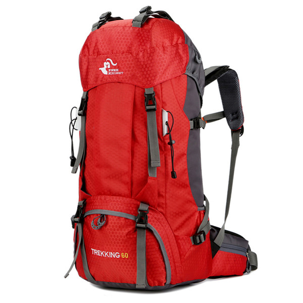 FK0395 60L Waterproof Foldable Backpack Camping Bag with Rain Cover Red