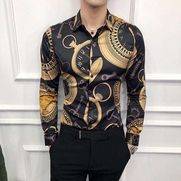 Casual Men Long Sleeve Gold New Korean Dress Slim Fit Tuxedo Shirts Male Fashion Night Club Work Shirt Q190518
