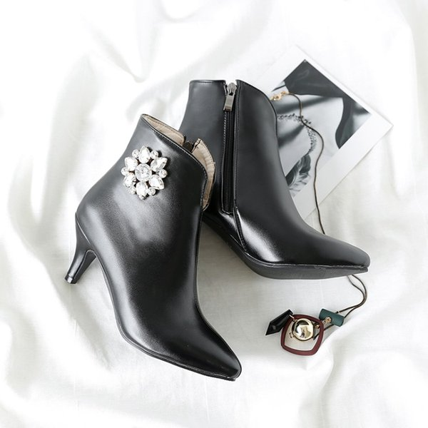big size 9 10 11-17 boots women shoes ankle boots for women ladies shoes woman winter water drill flower side zipper - from $72.47