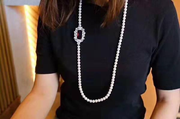 Zi вы ювелирных микро инкрустированные красный циркон аксессуары 7-8мм пресной воды Жемчужное ожерелье длина 85-90cm