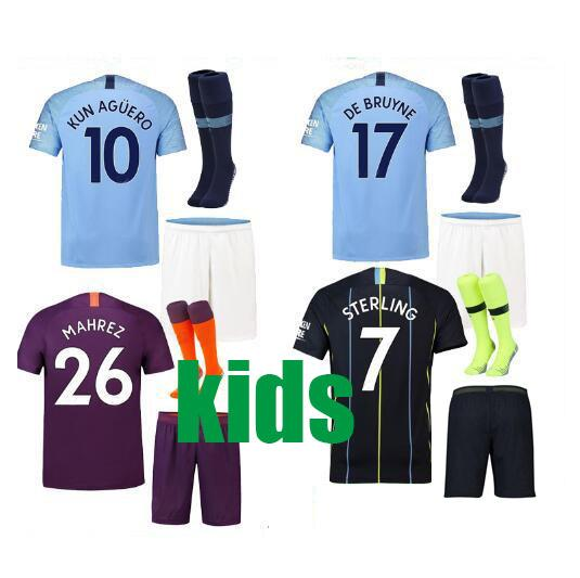 KIDS KIT 18 19 KUN AGUERO SOCCER JERSEYS MAHREZ STERLING HOME THIRD AWAY 2018 manchester SANE DE BRUYNE G.JESUS city BOYS FOOTBALL SHIRTS