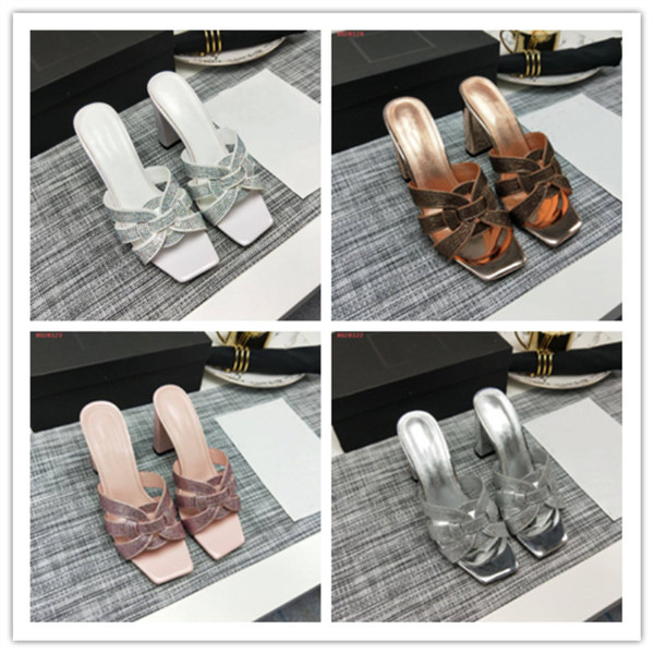Summer high heel thick heel slipper summer wear new leather thick heel fashion casual flip-flops non-slip casual women\'s slippers