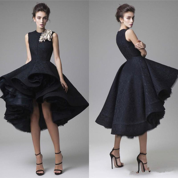 Krikor Jabotian Black Puffy Prom Dresses High Low Jewel Neck Knee Length Lace cocktail Evening Gowns Sleeveless Red Carpet Party Dress