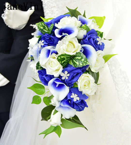Acheter Janevini Bouquets De Mariage De Fleurs Bleues Avec Cristal Cascade Rose Artificielle Bouquet De Soutien De Mariee Mariees Tenant Des Fleurs De