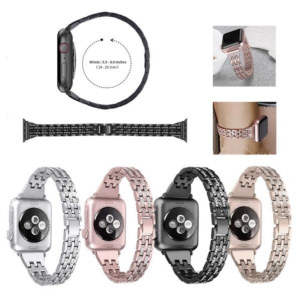 Cinturini orologi Accessori sostituibili diamante della fascia di metallo per Apple Osservare 38 millimetri 40 millimetri 42 millimetri 44 millimetri cinturino da polso Bracciale iWatch Serie 5 4 3 2 1