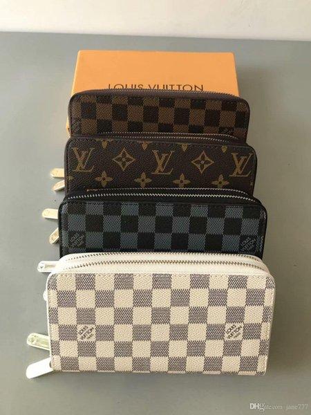 2019 Vente en gros 4 couleurs hommes unique zipper mode femmes portefeuille en cuir dame dames longue bourse avec carte boîte orange 60017