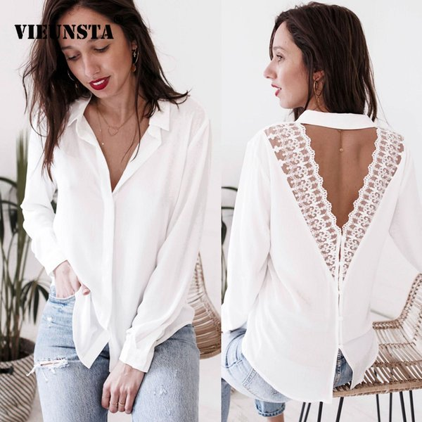 VIEUNSTA 2019 Fashion Womens Lace Tops and Blouses Office Lady Long Sleeve V Neck Harajuku Shirt Lace Chemise Blusas Feminina