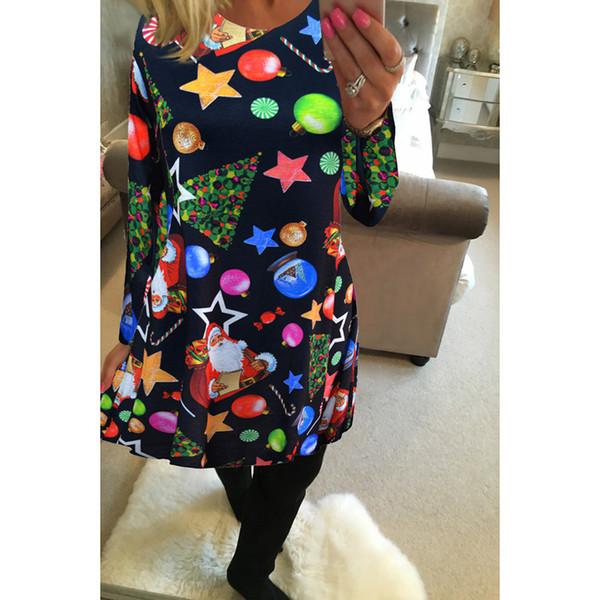 Fairy2019 Одежда Костюм-платье с принтом с длинным рукавом Новогоднее платье Ты осень и зима Новый узор