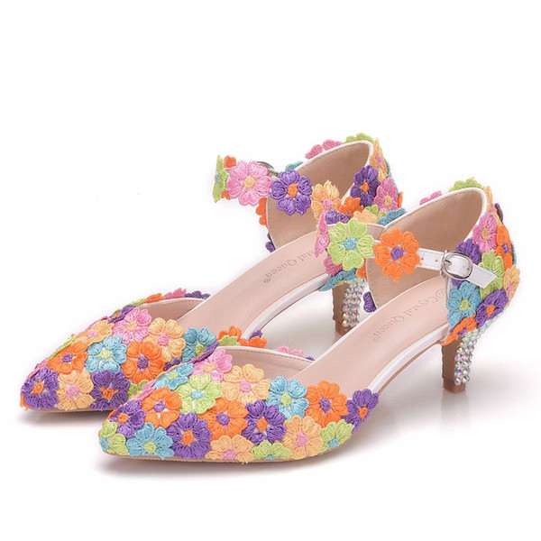 Crystal Queen 5cm Multicolour Lace Wedding Shoes Women PumpsThin Platform Wedding Shoes Party Heel Sandals Mary Jane Shoes