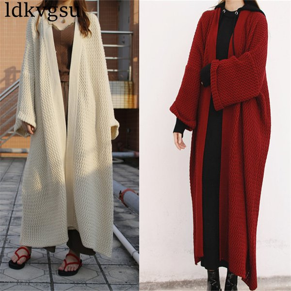 2019 Новая мода Batwing рукава Длинный кардиган пальто для женщин Сыпучие Большой размер Вязание Весна Осень свитера Одежда V37