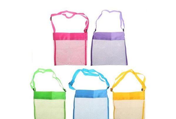5color Wholesale Blanks Children Mesh Shell Beach seashell Bag Kids Beach Toys Receive Bag Mesh Sandboxes Away
