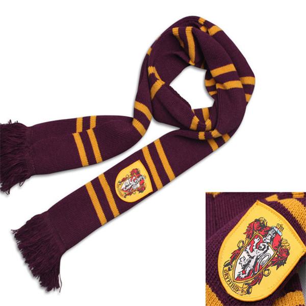 Harry Potter Schals Slytherin Gryffindor Ravenclaw Hufflepuff Gestrickter Schal mit Quasten Winter verdicken Wolle Warme Cosplay-Schals 4 Farben