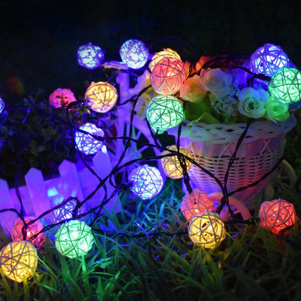 Солнечные струнные светильники 20ft 30 LED многоцветный ротанг Глобус струнные светильники декоративное освещение для Открытый Дом Сад патио партии