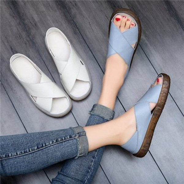 Tangnest 2019 Fashion Flat Sandals Women Summer Platform Slippers Soft Bottom Slip On Creepers Handmade Casual Shoes XWZ5647