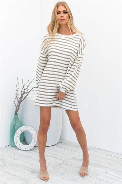 Spring Striped Print Female Dress Women Crew Neck Long Sleeve Fashion Dresses Casual Ladies Holidays Clothing
