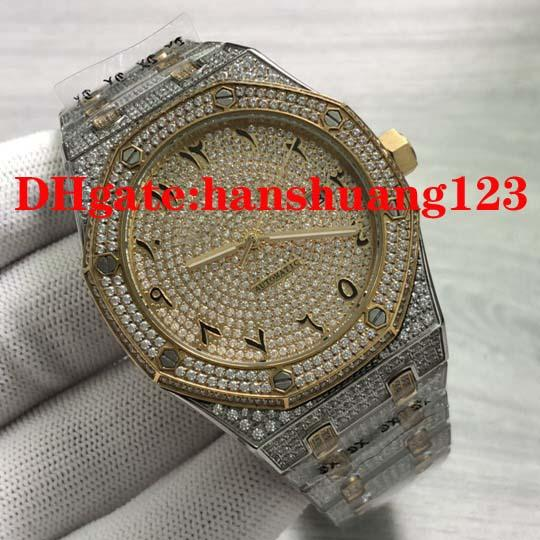 New men 039 arabic diamond watche refined teel ca e chain 8215 automatic machine core preci ion and table walking time large whole