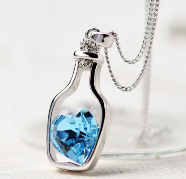 New Women Ladies Fashion Popular Crystal Necklace Love Drift Bottles gift for women Boho Layering Chokers Chockers girl