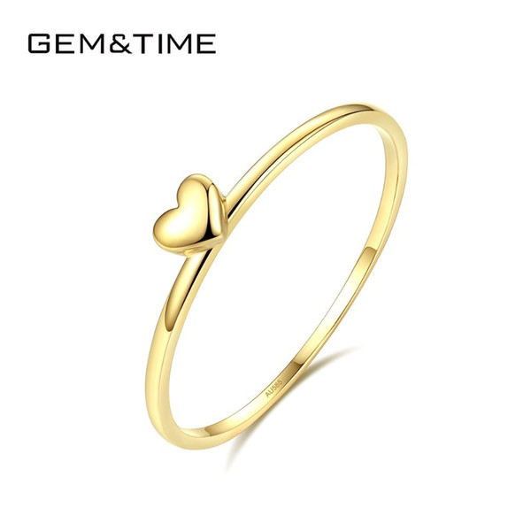 Gem&time Luxury Heart Round Pure Solid 14k Gold Rings For Women Wedding Engagement Fine Jewelry Yellow Gold Anillos Au585 R14004 Y19052301
