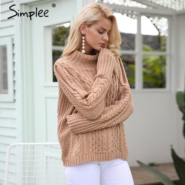 Simplee Casual warm autumn winter sweater women jumper Cold shoulder knitting pullover Hollow out high neck sweater female S118