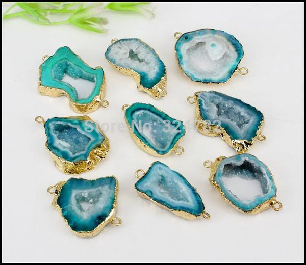 gem stones 5pcs Geode Slice Stone Connectors,Gold Metal Natural Gem stone Connectors in Green color,For Making Jewelry