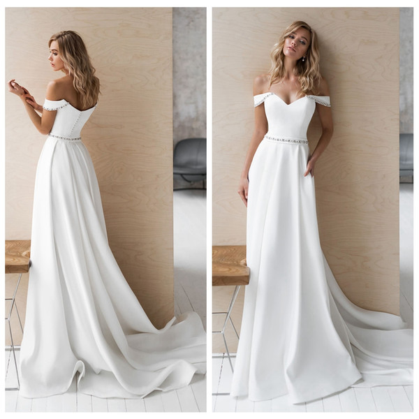 Noble White Off Shoulder Wedding Dresses With Beaded Sash