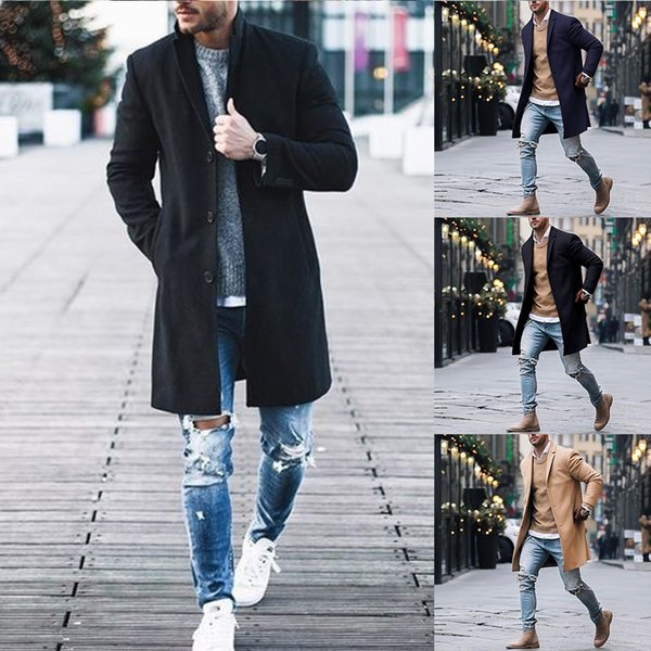 Trend Classic Men Trench Coat Spring Gentlemen Casual Fashion Outwear Men Solid Slim Office Suit Jackets Streetwear