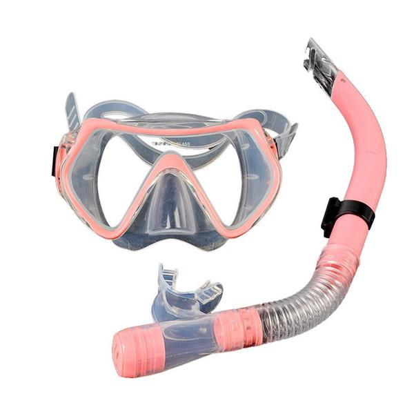 Lunettes de natation Diving Mask Dry Snorkel Set Kit PC, équipement de plongée en apnée PVC jaune, rose, bleu