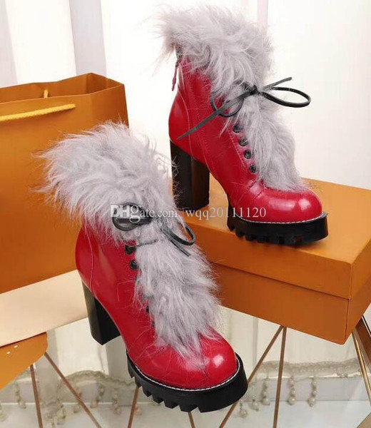 2018 Branded Women Glazed Leather Star Trail Ankle Boots Designer Lady Side Zip Chunky Heel Rubber Outsole Ultra-wearable Ankle BootsSize