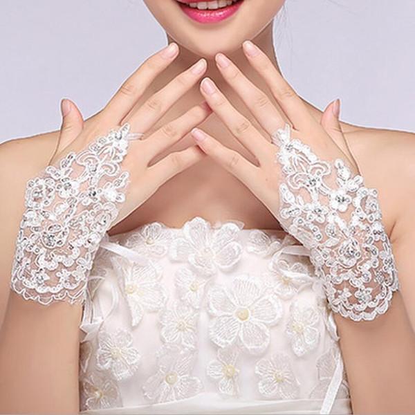 Heißer Verkaufs-neuer weißer Fingerless Brauthandschuh Kurze Handgelenk Länge elegante Strass Braut Hochzeit Handschuhe Brauen Handschuh billig Freies Verschiffen