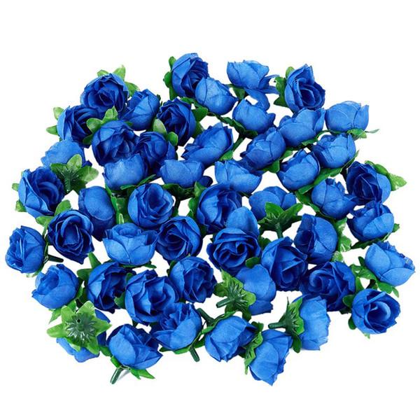 50 roses artificielles, 3 cm de haut, décoration de mariage, bleu marine