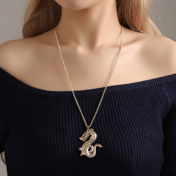 Fashion Red Eyes Dragon Pendant Necklace Alloy Gold Color Link Chain Trendy Choker Collares Women Men Long Necklace Jewelry